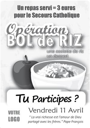 26p_AFFICHE_Bol-de-riz, opération pédagogique, action de solidarité, un repas, les enfants, élèves, lycéens, collégiens, offrir un repas, éducation civique