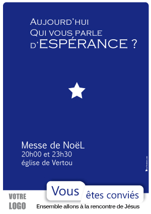 34, affiche Noel, espérance, Claire, affiche paroisse, affiche messe de noel, affiche veillée de noel, affiche messe de minuit, communication paroisse