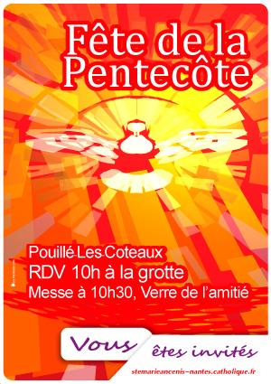 80, affiche paroissiale, fete de la pentecote, don de l'Esprit Saint,célébration de la Pentecôte, cinquantième jour après Pâques